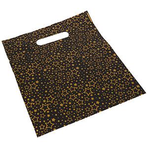 Plastposer med stjerner, 500 stk. Mat sort plast / Guld stjerner 250 x 280
