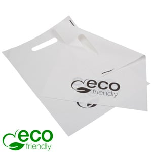 500 Bioplastic Carrier Bags, Small Matt white bioplastic 250 x 350 35 MY