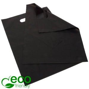 Kleine ECO plastic draagtas met diamant, 500 st. Mat zwart gerecycled plastic met zwarte diamant 250 x 350 50 my