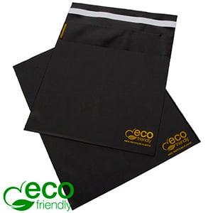 ECO forsendelsespose, 250 stk. Mat sort genbrugsplast med guldtryk 200 x 200 60 My