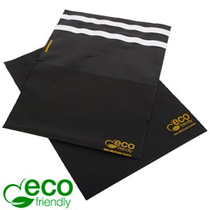 ECO forsendelsespose m. returlukning, 250 stk. Mat sort genbrugsplast med guldtryk 200 x 200 60 My