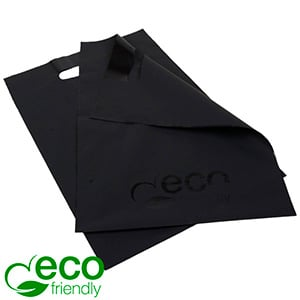 Small Plastic Carrier Bags with ECO-friendly, 500x Matt Black Recycled Plastic with Black Print 250 x 350 50 MY