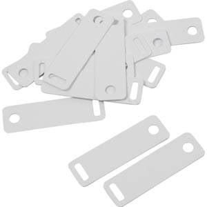 100 plastic labels necklaces White 38 x 11