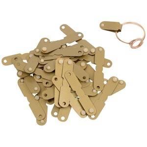 Étiquettes plastique à rivet pour bague, 1000 pcs Plastique doré 19 x 6