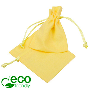 ECO Cotton Jewellery Pouch, Mini Pastel yellow organic cotton with satin drawstring 70 x 90