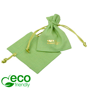 ECO Cotton Jewellery Pouch, Mini Pistachio green organic cotton w. satin drawstring 70 x 90