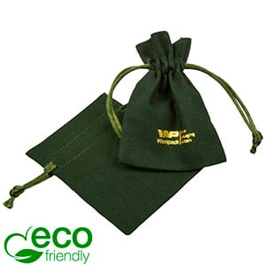 ECO Cotton Jewellery Pouch, Mini Dark green organic cotton with satin drawstring 70 x 90