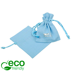 ECO Cotton Jewellery Pouch, Mini Light blue organic cotton with satin drawstring 70 x 90