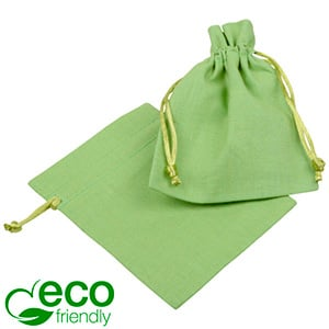 ECO Cotton Jewellery Pouch, Small Pistachio green organic cotton, satin drawstring 90 x 120