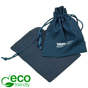 ECO Cotton Jewellery Pouch, Small Dark blue organic cotton with satin drawstring 90 x 120