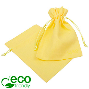 ECO Cotton Jewellery Pouch, Medium Pastel yellow organic cotton with satin drawstring 120 x 170