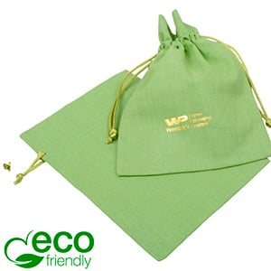 ECO Cotton Jewellery Pouch, Medium Pistachio green organic cotton, satin drawstring 120 x 170