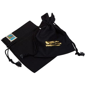 Fairtrade Cotton Jewellery Pouches, Small Black Cotton with Braided Cord Drawstring 90 x 120