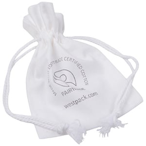 Fairtrade Cotton Jewellery Pouches, Small White Cotton with Braided Cord Drawstring 90 x 120