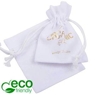 ECO Katoenen sieradenzakje, mini Wit biologisch katoen met katoenen trekkoordje 70 x 90