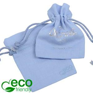 ECO Katoenen sieradenzakje, mini Lichtblauw biologisch katoen, katoenen trekkoordje 70 x 90