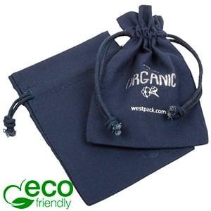 ECO Katoenen sieradenzakje, klein Donkerblauw eco katoen met katoenen trekkoordje 90 x 120