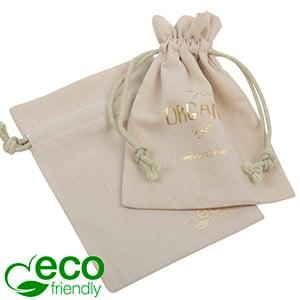 ECO Pochette en coton pour bijoux, petite Coton écologique en couleur sable avec coton 90 x 120
