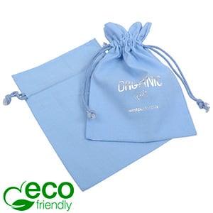 ECO Katoenen sieradenzakje, medium Lichtblauw biologisch katoen, katoenen trekkoordje 120 x 170