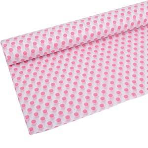 Papier de soie x 240 feuilles Blanc avec points rose 760 x 505 17 gsm