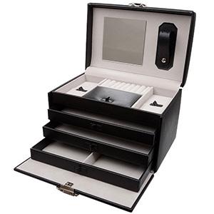 Nr. 825 - Kuferek na biżuterię Czarny / kremowa welurowa Wkładka 223 x 160 x 155