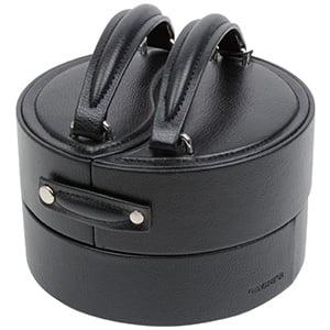 Coffret à bijoux ronde, N°. 828 Similicuir noir / velours gris 160 x 155 x 90