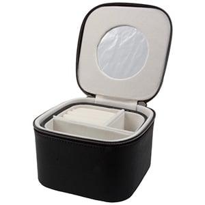 Étui de voyage carré pour bijoux N°. 833 PVC noir fermeture éclair/ intérieur velours crème 140 x 140 x 90