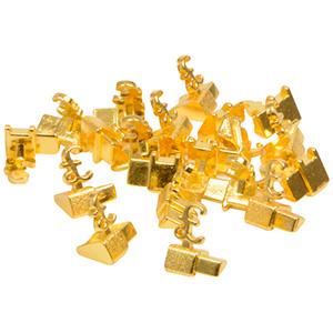 Chiffres prix de luxe pour bijoux 8 mm, 20 pcs Cube de départ avec £, Couleur or