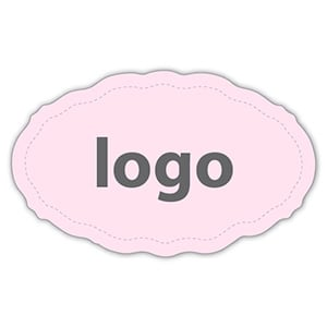Etiket met logo 001 - Ovaal, met geschulpte rand Mat lichtroze etiket met uw logobedrukking 44 x 27