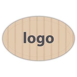 Etiket met logo 002 - Ovaal Mat naturel etiket met uw logobedrukking 39 x 24