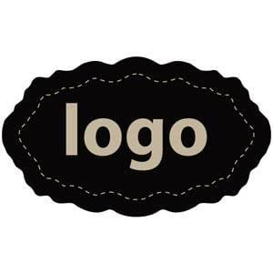 Etiket met logo 003 - Ovaal, met geschulpte rand Mat zwart etiket met uw logobedrukking 32 x 19