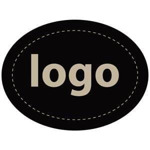 Etiket met logo 004, Ovaal Mat zwart etiket met uw logobedrukking 28 x 21