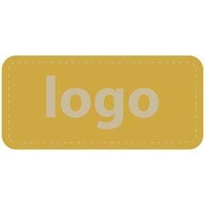 Etiket met logo 006 - Rechthoek, afgeronde hoeken Mat goudkleurig etiket met uw logobedrukking 30 x 14
