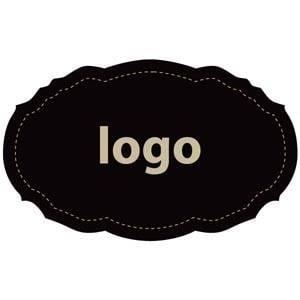Etiquettes adhésives 007 - Ovale festonnée Noir 49 x 30