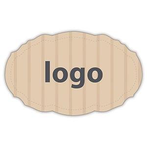 Etiket met logo 007, Ovaal met geschulpte rand Mat naturel etiket met uw logobedrukking 49 x 30