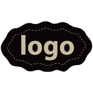 Etiket met logo 009, Ovaal met geschulpte rand Mat zwart etiket met uw logobedrukking 29 x 16