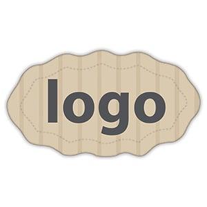 Etiket met logo 009, Ovaal met geschulpte rand Mat naturel etiket met uw logobedrukking 29 x 16