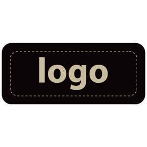 Etiket met logo 011 - Rechthoek, afgeronde hoeken Mat zwart etiket met uw logobedrukking 35 x 15