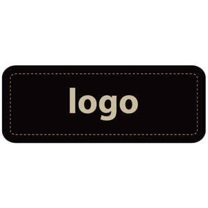 Etiket met logo 012 - Rechthoek, afgeronde hoeken Mat zwart etiket met uw logobedrukking 50 x 19