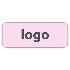 Etiket met logo 012 - Rechthoek, afgeronde hoeken Mat lichtroze etiket met uw logobedrukking 50 x 19