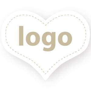 Etiket met logo 015, Hartvormig Wit etiket met uw logobedrukking 28 x 27
