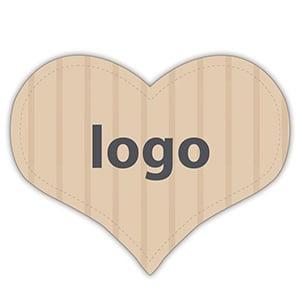 Etiket met logo 015, Hartvormig Mat naturel etiket met uw logobedrukking 28 x 27