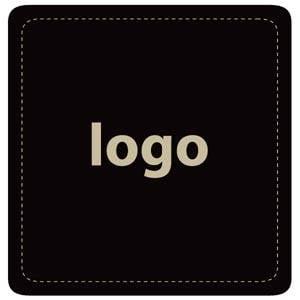 Etiket met logo 017 - Vierkant, afgeronde hoeken Mat zwart etiket met uw logobedrukking 42 x 41