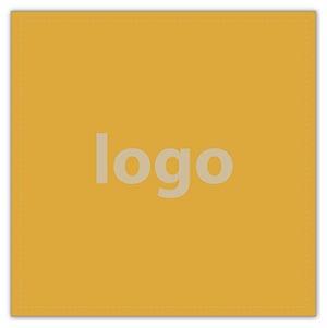 Etiket met logo 020 - Vierkant, scherpe hoeken Mat goudkleurig etiket met uw logobedrukking 33 x 33