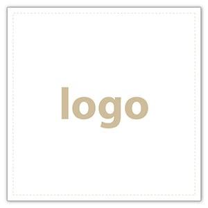 Etiket met logo 020 - Vierkant, scherpe hoeken Wit etiket met uw logobedrukking 33 x 33