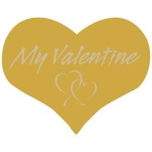 """Etykiety z """"My Valentine"""", serduszko Kolor złoty 28 x 22"""