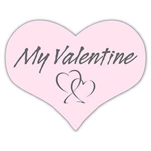 """Etykiety z """"My Valentine"""", serduszko Kolor Różowy 28 x 22"""