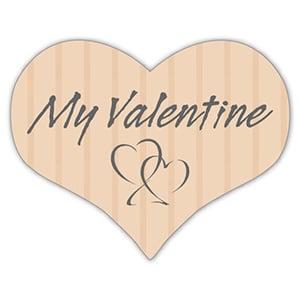 """Etykiety z """"My Valentine"""", serduszko Kolor Beżowy 28 x 22"""