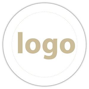 Etiket met logo 023, Rond Wit etiket met uw logobedrukking 19 x 19