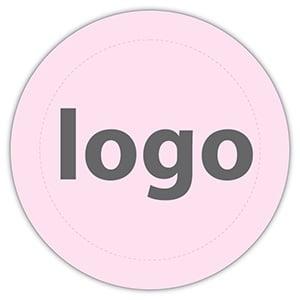 Etiket met logo 023, Rond Mat lichtroze etiket met uw logobedrukking 19 x 19